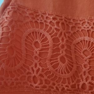 J. Crew Tops - J crew  orange tank top with crochet embellishment